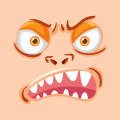 Monster face on peach background