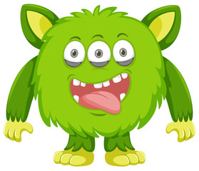 Silly green Monster white background