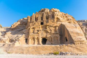 Yellow Obelisk Tomb Bab el-siq Triclinium Outer Siq Canyon Hiking To Entrance Into Petra Jordan Petra Jordan. In front of entrance to Petra