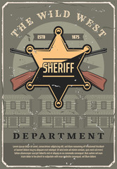 Wild West sheriff star badge and gun, vector