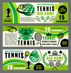 Tennis sport game school and tournament banners