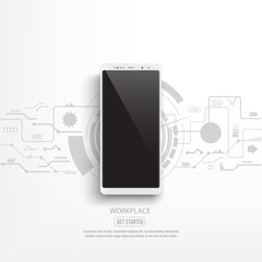 Black smartphone mockup with circuit background. illustrator vector