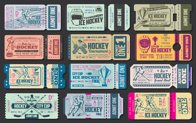 Ice hockey game vector tickets
