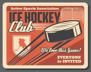 Ice hockey sport club, player and puck