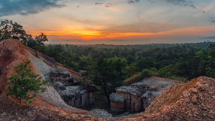 Mountain View, The mountain was eroded into a cliff. Location at Grand Canyon, Lampang, Thailand