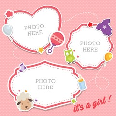 Baby photo frames with cute animals and baby equipments sticker