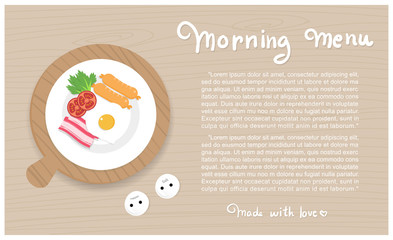 18Breakfast with heart shape egg on a wooden table with text Morning Menu, made with love breakfast flat design vector illustration.