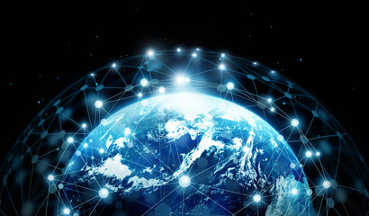 Network connection and global data exchanges on blue planet earth ,Elements of this image furnished by NASA