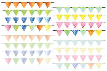 三角フラッグ(縦縞と水玉模様カラフルバージョン)版画風