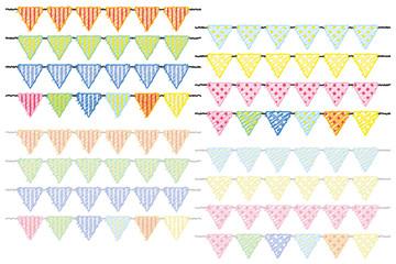 三角フラッグ(縦縞と水玉模様カラフルバージョン)落書き風