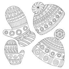 Hats and mittens graphic black white doodle isolated set illustration vector