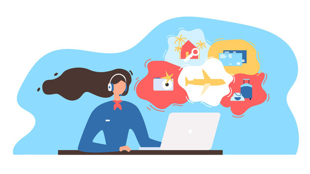 Travel Agency Consultant Working Online Vector