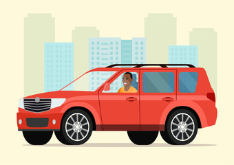 Car with driver afro american man. Vector flat style illustration