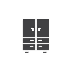 Closet furniture vector icon. filled flat sign for mobile concept and web design. Cupboard simple solid icon. Symbol, logo illustration. Pixel perfect vector graphics