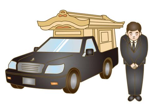 お葬式イラスト:霊柩車
