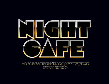 Vector Sign with text Night Cafe. Modern set of Golden Alphabet Letters and Numbers. Metallic gradient Font.