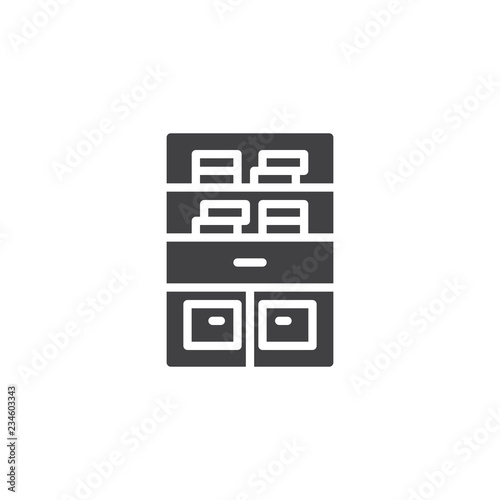 Bookshelf Stand Vector Icon Filled Flat Sign For Mobile Concept And Web Design Bookcase