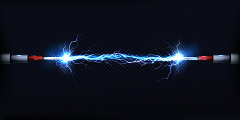 Electrical discharge passing through air between two pieces of naked wires or power cables 3d realistic vector illustration isolated on transparent background. Electrical power short circuit concept Wall mural