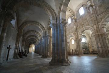 Vezelay, France-October 16, 2018: Interior of Basilica Sainte-Marie-Madeleine in Vezelay