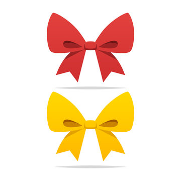 Red and yellow ribbon bow vector isolated