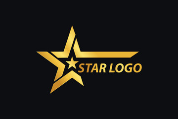 Gold Star logo designs template with Black Background