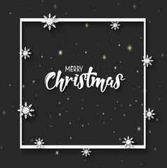 Christmas Greeting Card. Merry Christmas lettering on black background