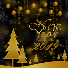 Happy New Year 2019 wishes greeting card template background design