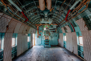 Inside old military airplane cabin crew