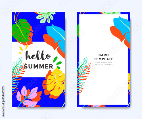 hello summer invitation card template design tropical plants on