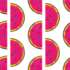 Watercolor watermelon seamless pattern. Hand painted abstract geometric background for surface design, textile, wrapping paper, wallpaper, phone case print, fabric.