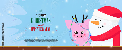 merry christmas and happy new year banner with snowman and funny pig with antlers wrapped in