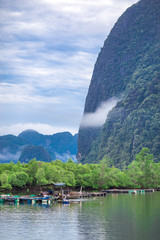 Phangnga Treasures-Banhinrom: September 19, 2018, River fishermen and cage fishers in Khlong Khian, Takua Thung District, Krabi, Thailand.