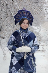 Snow woman in kokoshnik. Russian style and winter