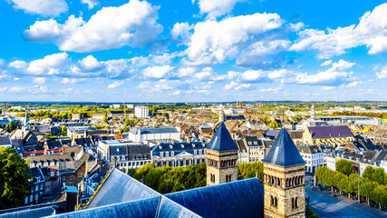 Aerial view of the historic city of Maastricht in the Netherlands as seen from the tower of the Sint Janskerk (St.John Church). The Basilica of Saint Servatius in the foreground.