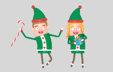 Couple cute elf santa christmas holding gift. 3d illustration.