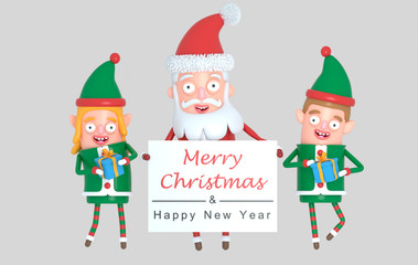 Couple elf  and Santa Claus holding a Greetings placard. 3d Illustration.
