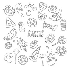 Cute cartoon sweets line icon set, fruits, berries and sweet candies. All sweet desserts icons. Hand draw line objects - sweet cocktail, donuts, cupcakes, cup, ice cream and lollipops icon collection
