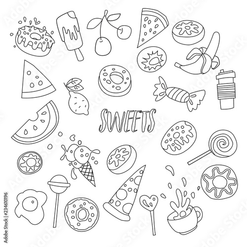 Cute Cartoon Sweets Line Icon Set Fruits Berries And Sweet Candies