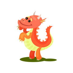 Flat vector icon of adorable red dragon. Pink fantastic animal with small horns and long tail