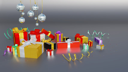 Several Multicolored gifts with shiny ribbons and many tiny stars with some Christmas Balls on a Dark background