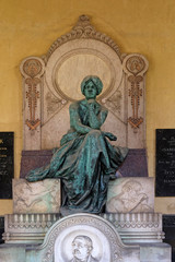 Detail of a mourning sculpture on a Mirogoj cemetery, Zagreb, Croatia