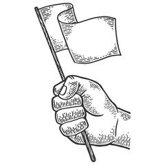 Hand with white flag engraving vector illustration. Scratch board style imitation. Black and white hand drawn image.