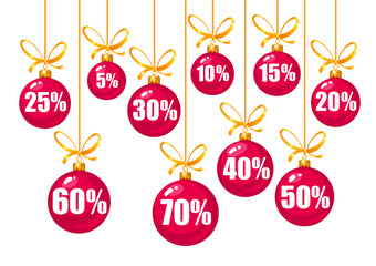 Set of discount tags 10,15,20,25,30,40,50,60,70 percent off in the shape of red Christmas balls hanging on a golden ribbons. Vector illustration isolated on white.