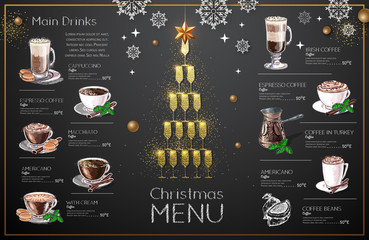 Christmas menu design with golden champagne glasses. Restaurant menu. Pyramid of champagne glasses