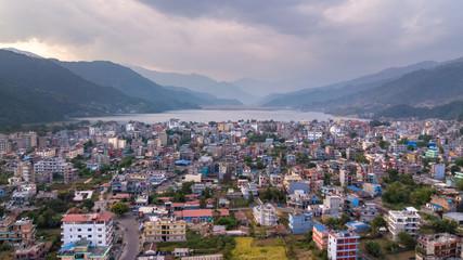 Pokhara city  and Phewa lake. Nepal