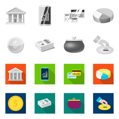 Isolated object of bank and money symbol. Collection of bank and bill vector icon for stock.