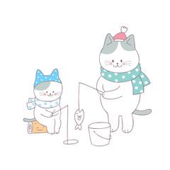 Cartoon cute family cat  fishing vector.
