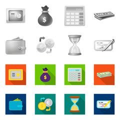 Vector design of bank and money sign. Set of bank and bill vector icon for stock.