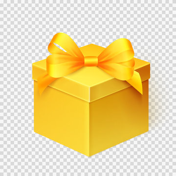 Realistic yellow gift box with ribbon. Design template for Holiday Christmas present. Vector illustration.