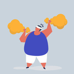 Man weightlifting a fried chicken drumstick illustration
